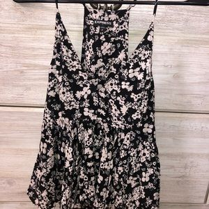 Express black and white floral tank
